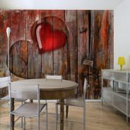 Fototapeta - Serce wyryte w drewnie