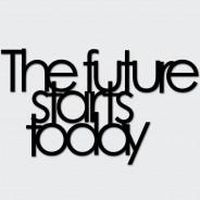 Napis na ścianę THE FUTURE STARTS TODAY czarny