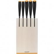 Zestaw 5 noży w bloku - biały Fiskars