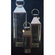Lampion metalowy z szybkami Latarnia SAC-BW7332