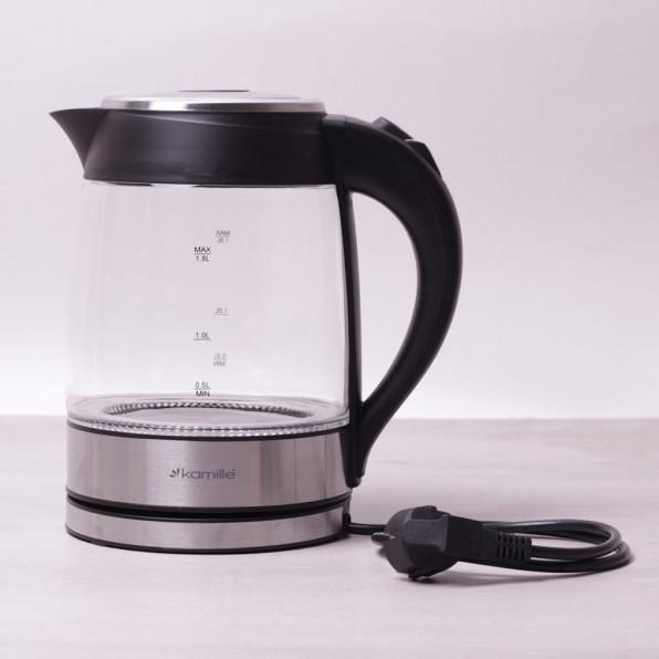 Czajnik elektryczny szklany 1.8L 2200W (czarny)