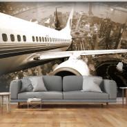 Fototapeta - Samolot wzbijający się w powietrze