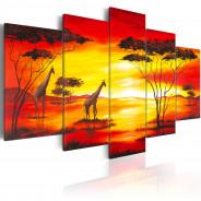 Obraz - Żyrafy na tle zachodzącego słońca