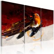 Obraz - Mały ptaszek na czerwono-białym tle