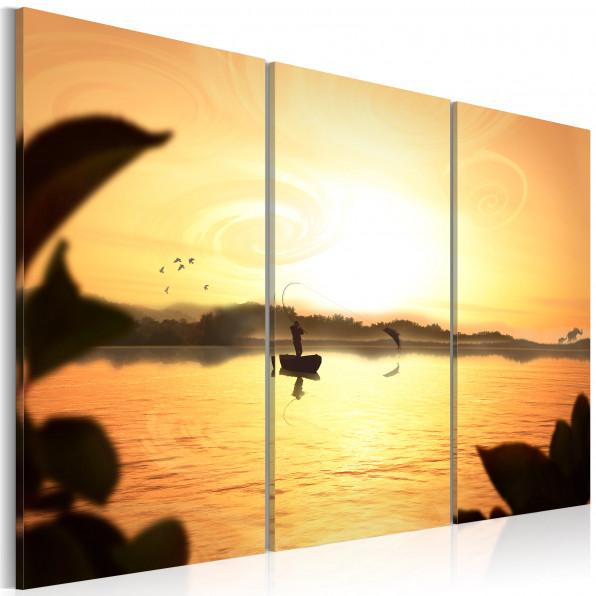 Obraz - Wędkarz na jeziorze