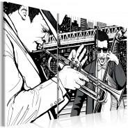 Obraz - Koncert jazzowy na tle nowojorskich wieżowców