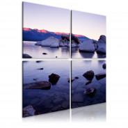 Obraz - Kamienisty brzeg alpejskiego jeziora