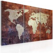 Obraz - Rdzawa mapa świata - tryptyk