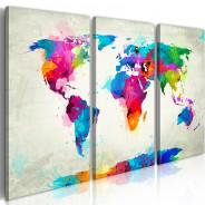 Obraz - Mapa świata: Eksplozja kolorów