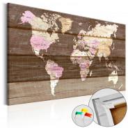 Obraz na korku - Drewniany świat [Mapa korkowa]