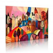 Obraz malowany - Kolorowa wieś