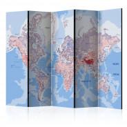 Parawan 5-częściowy - Parawan: Mapa świata