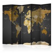 Parawan 5-częściowy - Parawan: Mapa Świata na ciemnym tle