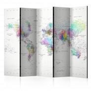 Parawan 5-częściowy - Parawan: Mapa Świata biało - kolorowa