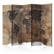 Parawan 5-częściowy - Parawan: Mapa na drewnie