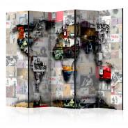 Parawan 5-częściowy - Parawan: Mapa Świata - Banksy