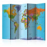 Parawan 5-częściowy - Kolorowa geografia [Room Dividers]