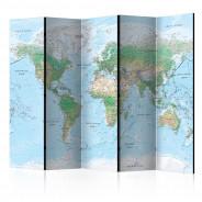 Parawan 5-częściowy - Mapa świata [Room Dividers]