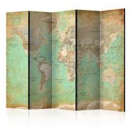 Parawan 5-częściowy - Turkusowa mapa świata [Room Dividers]