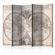 Parawan 5-częściowy - Mappe-Monde Geo-Hydrographique [Room Dividers]