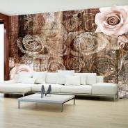 Fototapeta - Stare drewno i róże