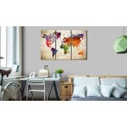 Obraz - Mapa świata w akwareli