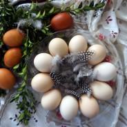 Talerz szklany do jaj z dekorem JASŁO