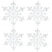 Ozdoba dekoracja świąteczna 4 szt. srebrne FLAKES XS