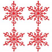 Ozdoba dekoracja świąteczna 4 szt. czerwone FLAKES XS
